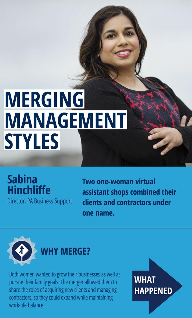 Sabina Hinchliffe, merging management styles