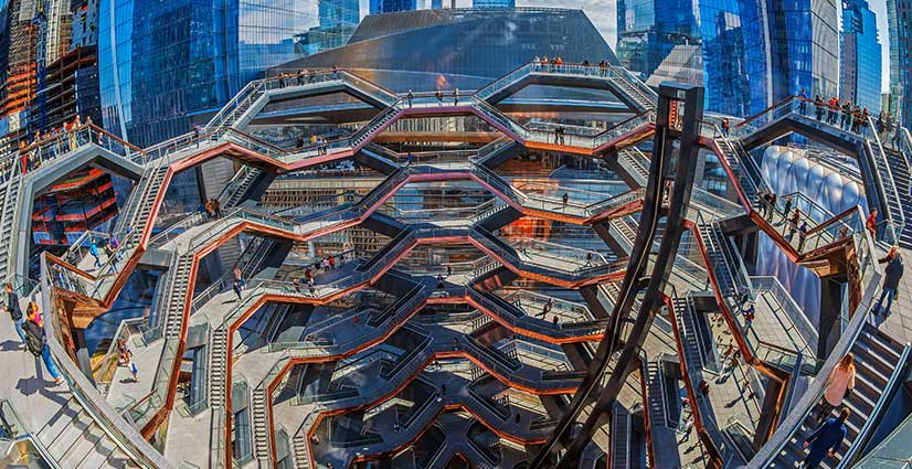 'New York, USA: The Vessel, project by architect Thomas Heatherwick, also known as Hudson Yards Staircase, in Manhattan'